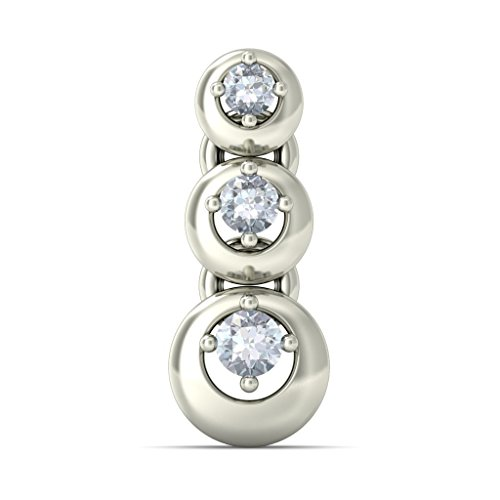14 K Or blanc 0,13 CT TW Round-cut-diamond (IJ | SI) Pendants d'oreilles
