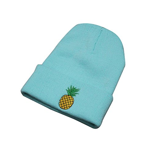 (URIBAKE ❤ Women's Girl's Beanies Pineapple Embroidered Elastic Winter Cotton Knitted Stocking Cuffed Cap Hat)