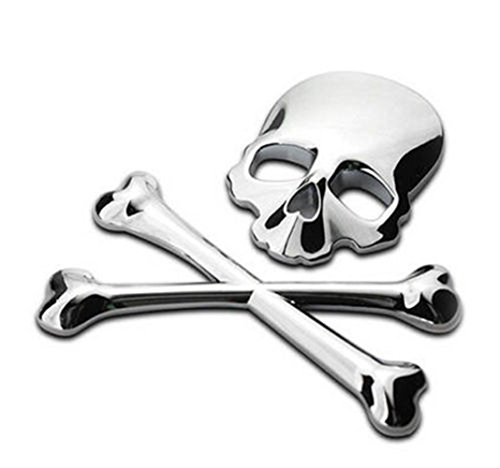 Star Heaven 3D 3M Skull Metal Skeleton Crossbones Car Motorcycle Sticker Label Skull Emblem Badge Car Styling Sickers Accessories Decal Silvery ()
