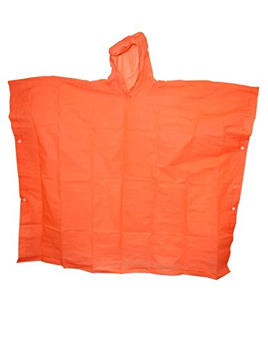 The Weather Station Pullover Adult Poncho, Wide Coverage and Carrying Case, (2 Pack), Orange, One Size ()