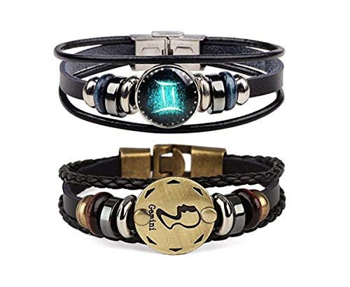 Dcfywl731 Retro 2pcs 12 Zodiac Constellation Beaded Hand Woven Leather Bracelet Braided Punk Chain Cuff (Gemini) (Best Gift For Gemini Woman)