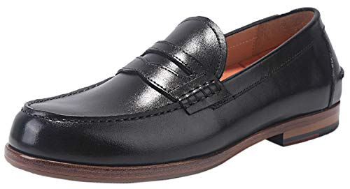 ELANROMAN Mens Dress Loafers Shoes Italian Luxury Handmade Blake Genuine Leather Sole Business Classic Party Formal Shoes for Oxfords Men US 9 EUR 43 Feet Lenght 290mm Black