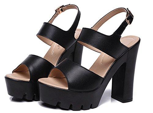 Sandales Bouche Mode Boucle Aisun Poisson Noir Bout De Femme Avec Ouvert x0IaUn