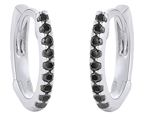 Diamond White Gold Safety Pin (14K Solid White Gold Black Natural Diamond Hoop Earrings)