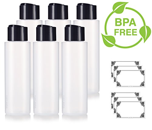 16 oz / 500 ml Professional Natural Clear Refillable Plastic Squeeze (BPA Free) Bottle with Wide Black Disc Cap Lid (6 Pack) + Labels for Shampoo, Conditioner, Body Wash, Lotion, - Shampoo Bottle Ounce 16