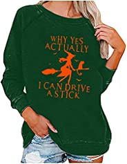 Womens Crewneck Sweatshirts Long Sleeve Autumn Tops Witch Graphic Halloween Shirts with Funny Saying