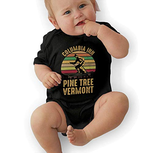 (Infant Columbia Inn Pine Tree Vermont Vintage Retro Cute Soft Music Band Jersey Baby Suit,Black,2T)