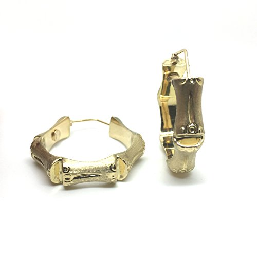Bamboo Boucles d'oreilles créoles en or jaune 18carats/750(Ø 8.50x 33mm)