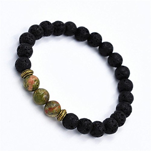 Tibet Rocks - Unpara Anti-fatigue Vesuvianite Bracelet Elastic Beaded Jewelry Bracelet Tibet Charm Healthcare Bracelets For Women Men (green)