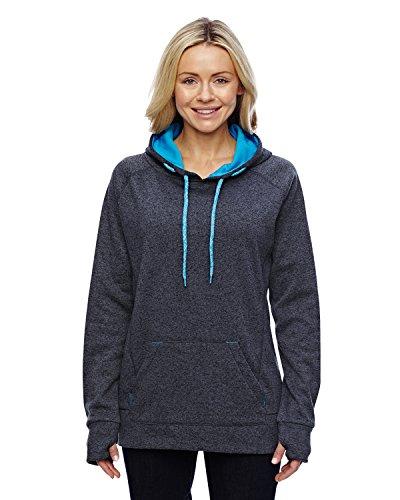 Ladies Hooded Tops (Ladies Pullover Hooded Sweatshirt, Onyx Black/Electric Blue, 3X-Large)