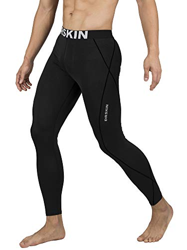- DRSKIN Compression Cool Dry Sports Tights Pants Baselayer Running Leggings Yoga Rashguard Men (L, Black)