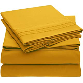 Mellanni Bed Sheet Set - Brushed Microfiber 1800 Bedding - Wrinkle, Fade, Stain Resistant - 4 Piece (Queen, Canary Yellow) (B07BKP48CJ) | Amazon price tracker / tracking, Amazon price history charts, Amazon price watches, Amazon price drop alerts