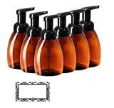 FOAMING SOAP DISPENSERS, BROWN AMBER PLASTIC FOAMER BOTTLES, 8.30 OZ with Black Pumps - Turn Your Soap, Shampoo, Body Wash into LUXURIOUS FOAM, PET, BPA Free, 6 PK, BONUS 6 DAMASK LABELS