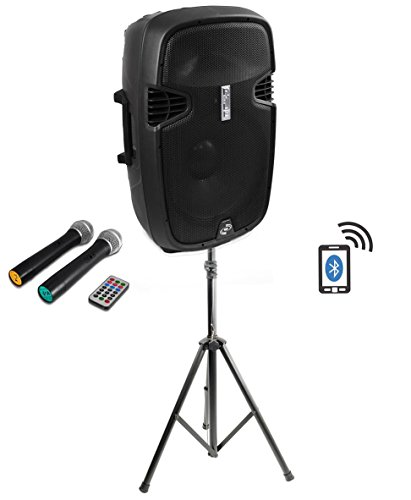 Pyle Pro PPHP159WMU Powered 15'' 1600 Watt Bluetooth DJ PA Loud Speaker + Stand by Pyle Pro