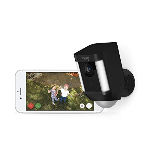 Ring Spotlight Cam Battery HD Security Camera with Built Two-Way Talk and a Siren Alarm, Black, Works with Alexa - 3-Pack