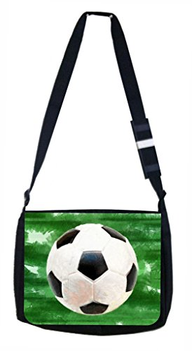 Grunge Soccer Ball Lea Elliot TM Laptop Messenger Bag and Small Accessory Case SET by Lea Elliot