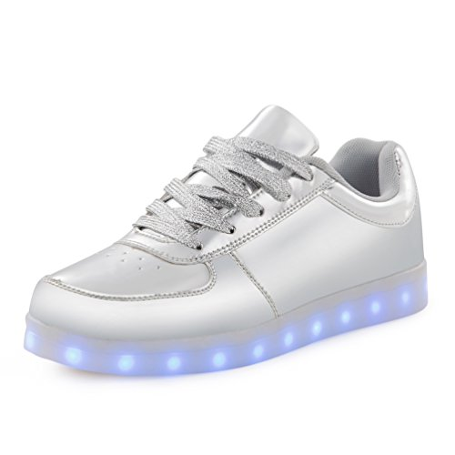 USB Charging LED Shoes for Women & Kids & Men 7 Colors Mode Flashing Sneakers (US4 kids, Sliver)
