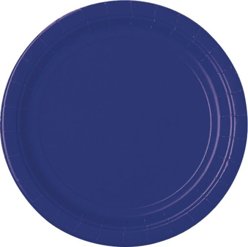 Amscan Ready Disposable Round Luncheon Childrens Party Plates (Pack 9) (120 Piece), Navy Flag Blue, 9''