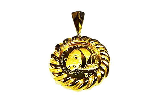 (24K 1/20 Oz Chinese Panda Bear Coin Set In 14K Solid Yellow Gold Coin 19Mm Pendant-Random Year Coin)