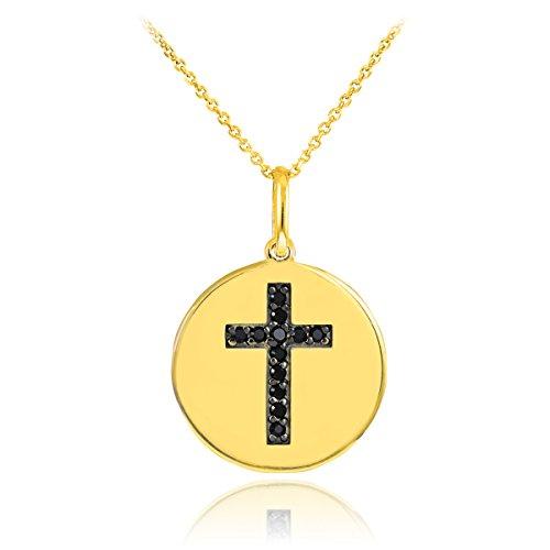 14k Gold Cross Black Diamond Disc Pendant Necklace (16 Inches)
