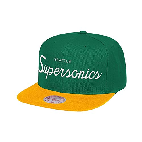 Mitchell & Ness Seattle Supersonics Classic Script (Green/Yellow) Snapback Cap
