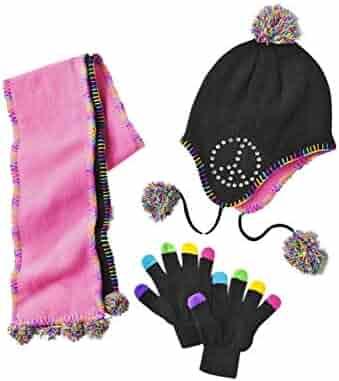 14458fe1023398 Toby N.Y.C. Girls Black Rhinestone Peace Sign Peruvian Trapper Hat Scarf  Gloves