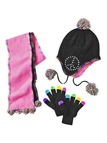 Toby N.Y.C. Girls Black Rhinestone Peace Sign Peruvian Trapper Hat Scarf Gloves (Trapper Signs)