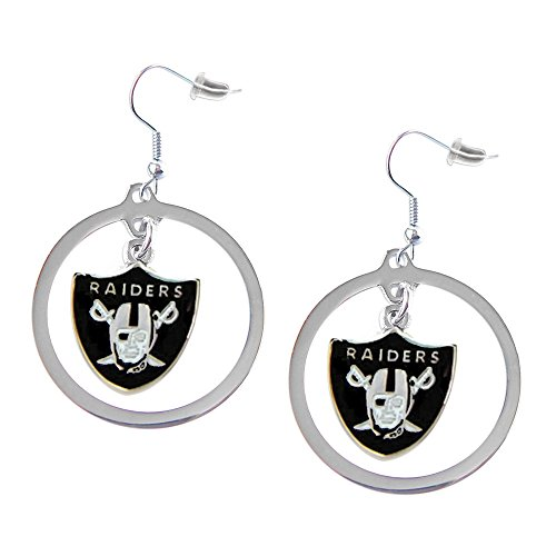 aminco NFL Oakland Raiders Charm Hoop Earring Set