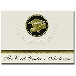 Signature Announcements The Excel Center - Anderson (Anderson, IN) Graduation Announcements, Presidential style, Elite package of 25 Cap & Diploma Seal. Black & Gold.