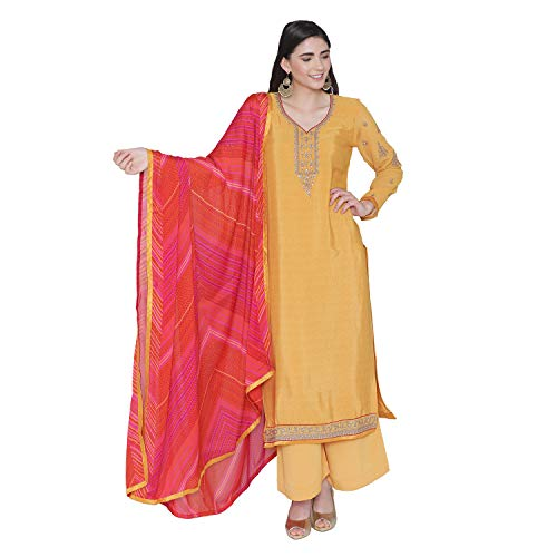 PinkShink Women's Readymade Yellow Crepe Indian/Pakistani Salwar Kameez Dupatta (Best Salwar Suits For Women)