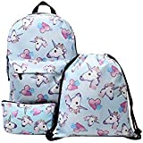3Pcs/set women backpack unicorn school bags for girls 3D printing student bag set mm