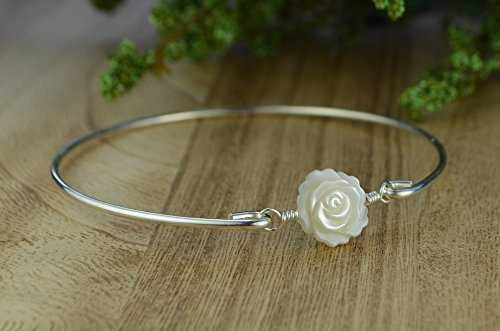White Mother of Pearl Rose Flower Bangle Bracelet- Bangle with or without Charms, Sterling Silver Filled Wire Wrap Bracelet-Custom Made to (Cancer Mop)