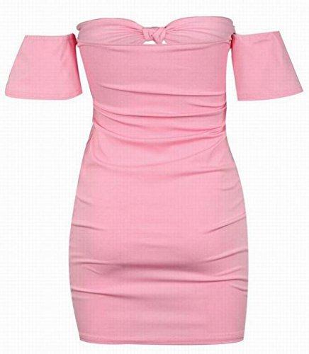 Club Mini Tie Shoulder Deep Dress Off Sexy Pink Womens V Bodycon Bow Padded Domple PqvUFA