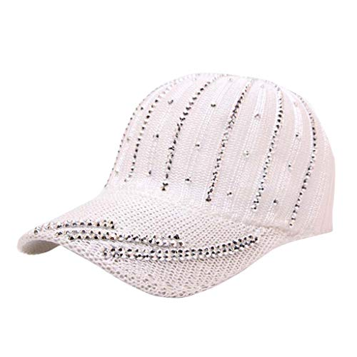 Man Women Baseball Hat  Hollow Breathable Knit Cap Summer Korean Version of The Wild Rhinestone Sunscreen Visor