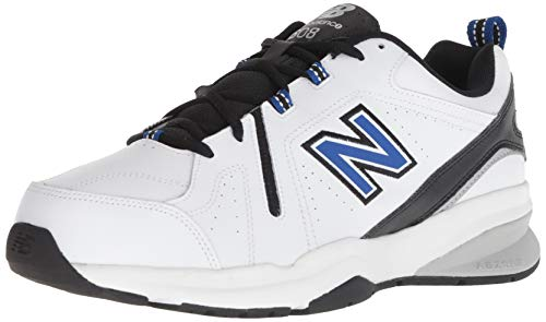 New Balance Men's 608v5 Casual Comfort Cross Trainer Shoe, white/team royal/black, 12.5 4E US