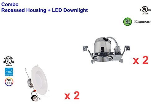 6'' Inch LED Can And Trim Combo -12W New Construction Insulation Contact IC Rated Downlight - UL and Energy Star Rated (5000 Kevin, 2 Each) by Bybon