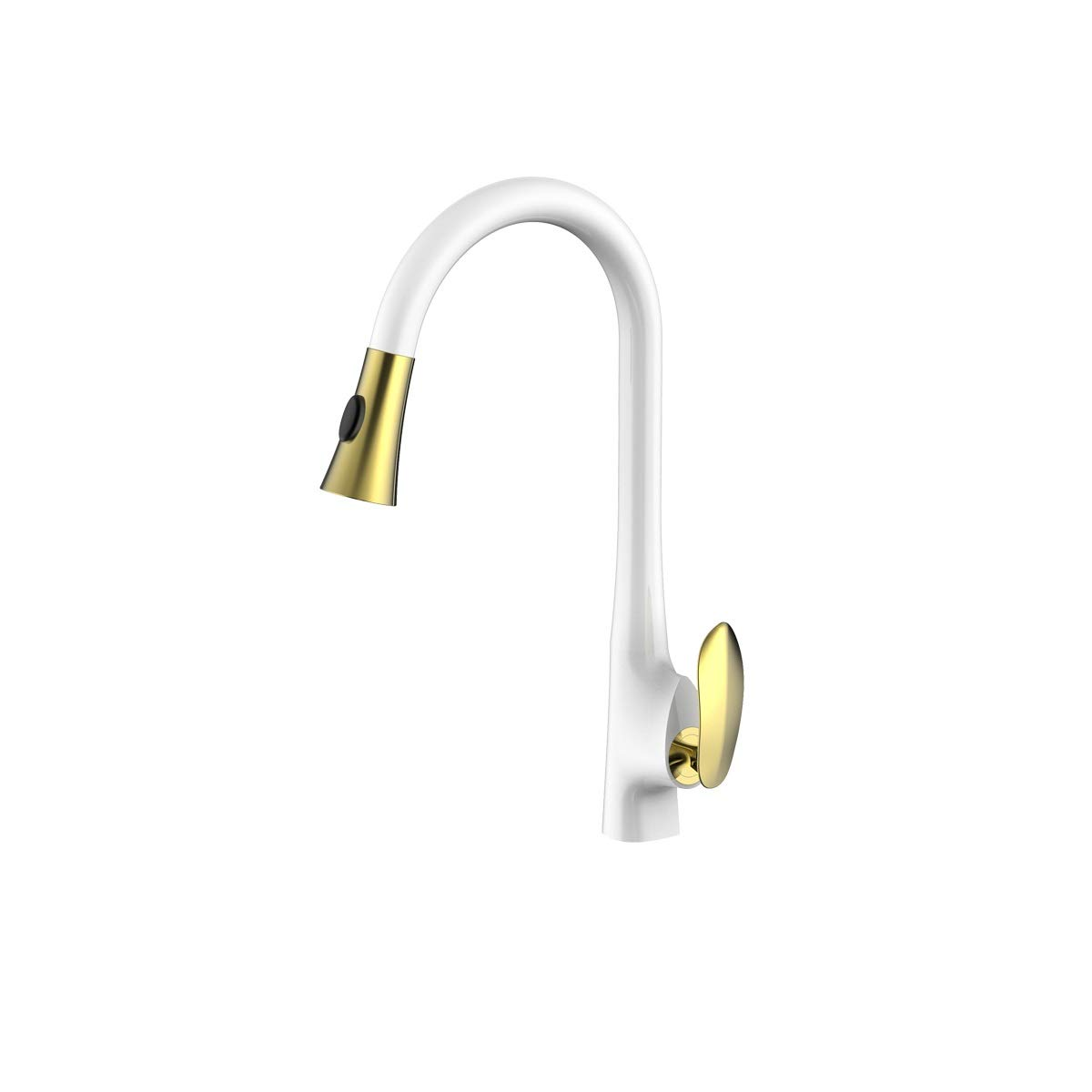 CQIANG Gold Pull Out Kitchen Sink Faucet Champagne Bronze Single Handle With Pull Down Sprayer, Easy To Install Free day (Color : White gold) by CQIANG