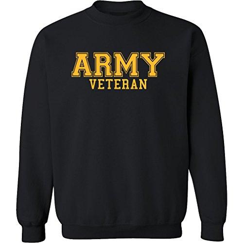 (ZeroGravitee Army Veteran Gold Logo Military Style PT Crewneck Sweatshirt In Black - XX-Large)