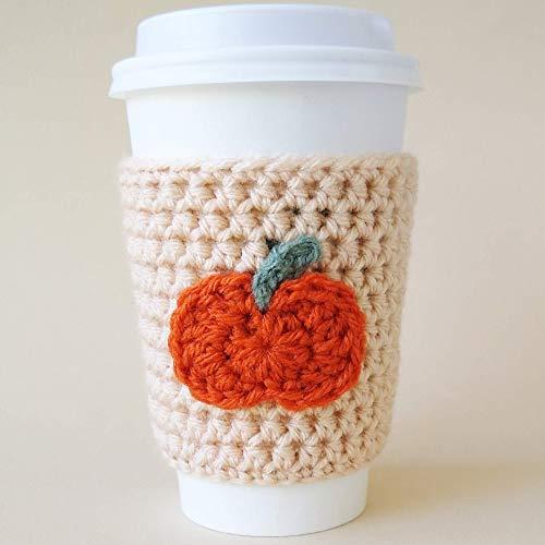 Beige Coffee Cozy Sleeve with Crocheted Pumpkin