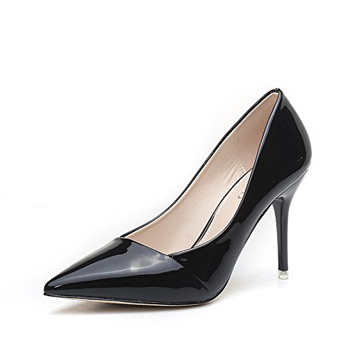 Shoes High High Bridesmaid High Single New 9cm Shoes Pointed Shoes Shoes Black heels Work Heels Heeled Jqdyl Female Spring 6H1Oqv1n