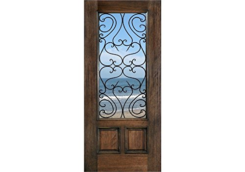 "ETO Doors Tuscany - Exterior Mahogany Wood French Style 2-Panel Entry Door with Clear Insulated Glass and Tuscany Iron Grill - Pre-Hung Available (32"" x 80"" x 1-3/4"")"