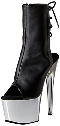 Pleaser Faux Chrome Boot Silver Leather SCH ADO1018 BPU Women's Black r1AYr