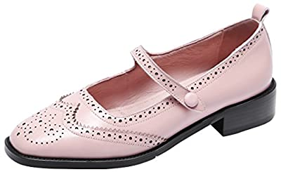 U-lite Women's Perforated Wingtip Brogues Vintage Snaps Closure Leather Flat Mary Jane Flats Shoes