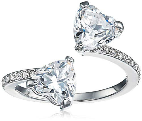 SWAROVSKI Women's Attract Soul Double Heart, Rhodium Finish, Crystal Ring Collection