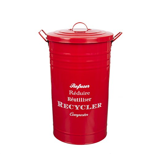 Home by Jackie Inc W01 Large Metal Food/Clothing/Sundries Kitchen Storage Tin Canister/Bucket/Containers with Lid and Handle (red)