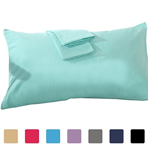 Ivory King 30' Drop (American Choice Pillowcase 700 Tc King 20X40 Size Aqua Solid with 100% Egyptian Cotton)