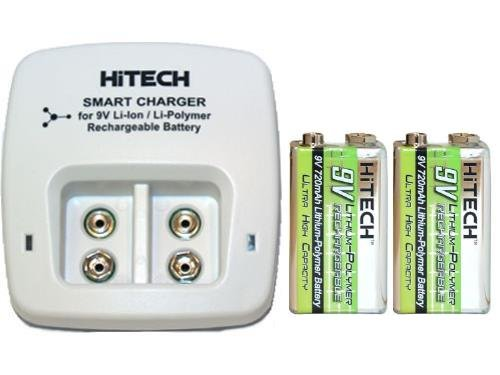 2 Bay 9 Volt Li-Ion / Li-Po Smart Charger & 2 X 9 Volt 720 Mah Li-Po Rechargeable Batteries