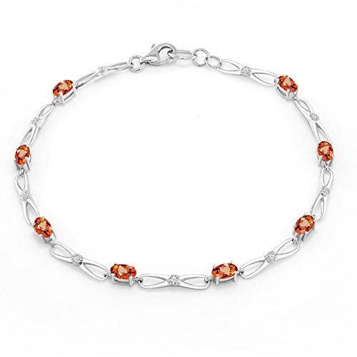 10K White Gold Oval Orange Sapphire White Diamond Bracelet 2.22 Ct (Diamond Orange Sapphire Gold Jewelry)