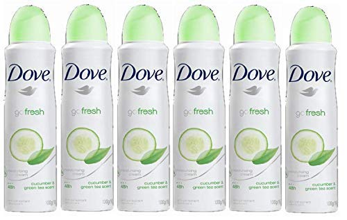 Dove Anti-Perspirant Deodorant Spray, Cucumber & Green Tea, Dry 48 Hour Protection 150 Ml (Pack of 6)