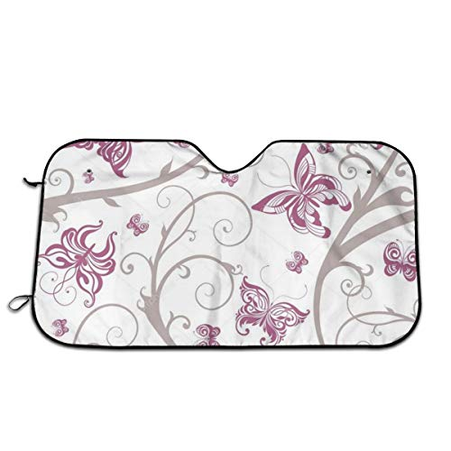 - Perfectly Customized Windshield Sunshade for Car Foldable UV Ray Reflector Auto Front Window Sun Shade Visor Shield Cover, Keeps Vehicle Cool Minivans -Stylish Butterfly Floral